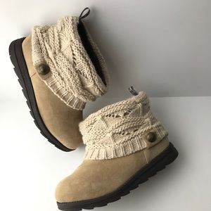 Muk Luks Patti Ankle Boots Sweater Knit Bootie
